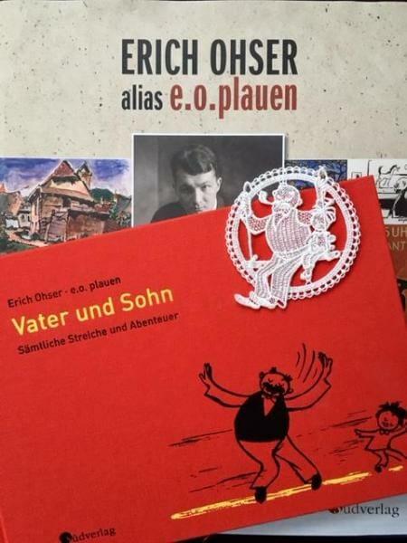 Vater und Sohn von e.o.plauen - Erich Ohser - Buch und Motiv aus Plauener Spitze