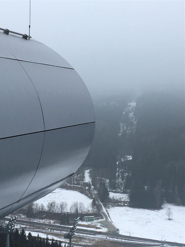 Ausblick von der Schanze in der Vogtlandarena Klingenthal
