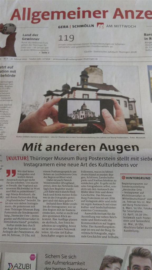 Allgemeiner Anzeiger Gera / Schmölln über Versteckte Orte