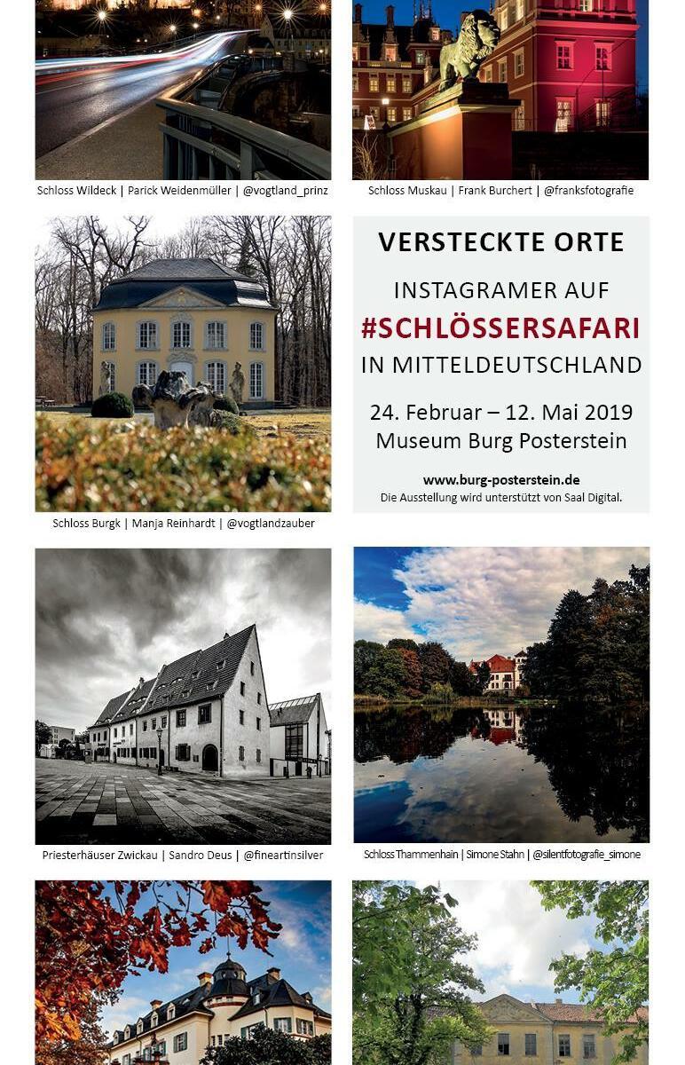 Flyer zur Ausstellung versteckte Orte auf Burg Posterstein - Schlössersafari
